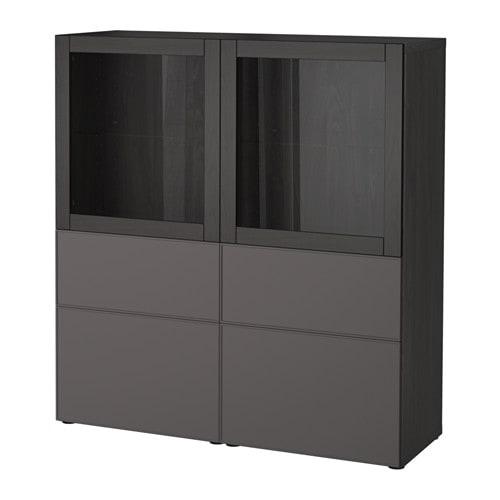 best vitrine schwarzbraun grundsviken dunkelgrau. Black Bedroom Furniture Sets. Home Design Ideas