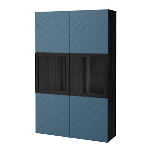 best vitrine schwarzbraun hallstavik dunkelblau. Black Bedroom Furniture Sets. Home Design Ideas