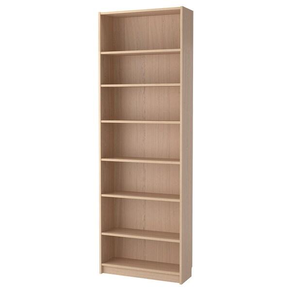 BILLY Bücherregal mit Aufsatzregal, Eichenfurnier weiß lasiert, 80x28x237 cm