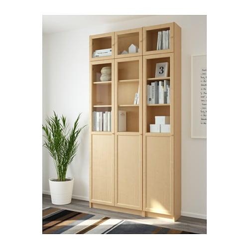 Ikea regal billy oxberg  BILLY / OXBERG Bücherregal - Birkenfurnier/Glas - IKEA