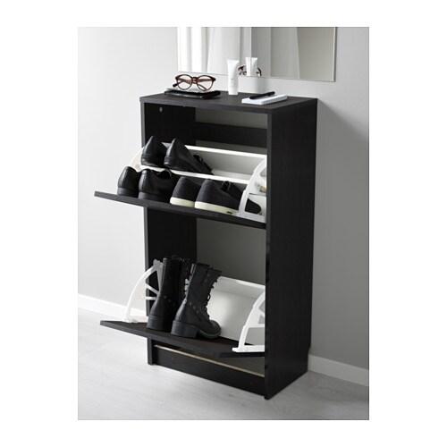 Schuhschrank ikea schwarz  BISSA Schuhschrank, 2fach - schwarz/braun - IKEA