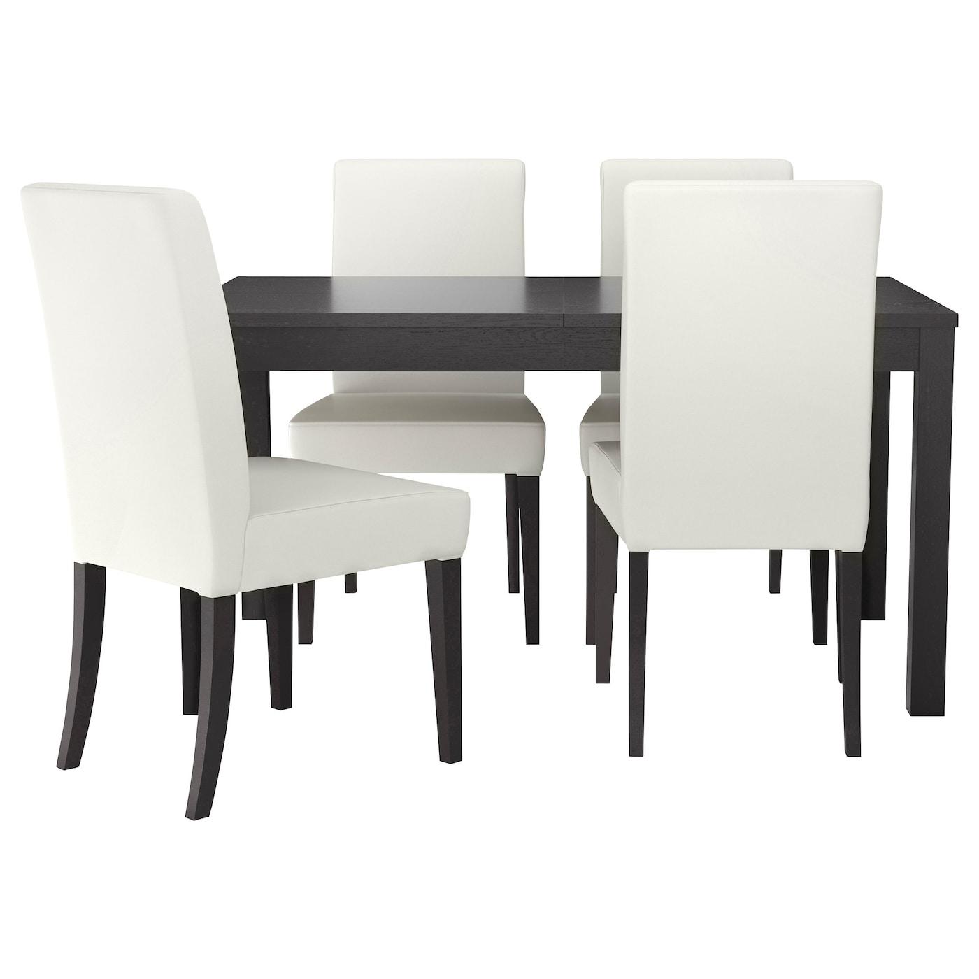 BJURSTA / HENRIKSDAL, Tisch und 4 Stühle, braunschwarz, weiß 791.976.78
