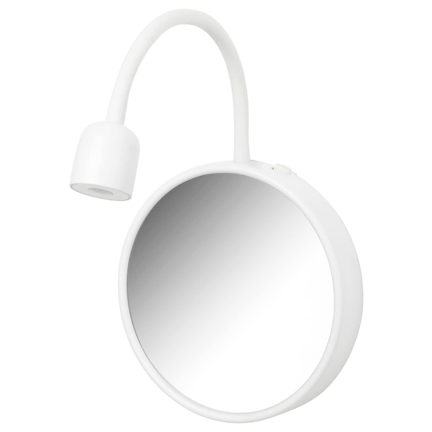BLÅVIK, Wandleuchte mit Spiegel, LED, batteriebetrieben weiß, weiß 003.123.08