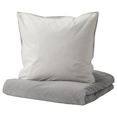 BLÅVINDA Bettwäsche-Set, 2-teilig, grau, 140x200/80x80 cm