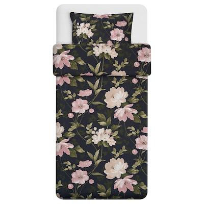 BLEKFRYLE Bettwäscheset, 2-teilig schwarz/Blume 250 Quadratzoll 1 Stück 220 cm 155 cm 80 cm 80 cm