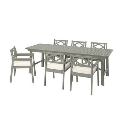 BONDHOLMEN Tisch+6 Armlehnstühle/außen grau las./Järpön/Duvholmen weiß
