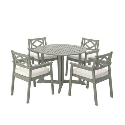 BONDHOLMEN Tisch+4 Armlehnstühle/außen, grau las./Järpön/Duvholmen weiß