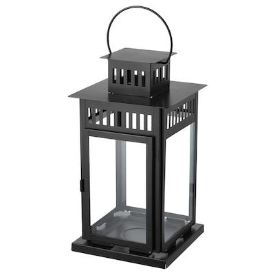 BORRBY Laterne für Blockkerze, drinnen/draußen schwarz, 44 cm