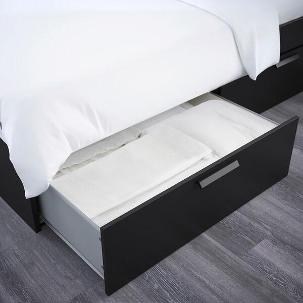 BRIMNES Bettgestell, Kopfteil und Schublade, schwarz/Leirsund, 140x200 cm