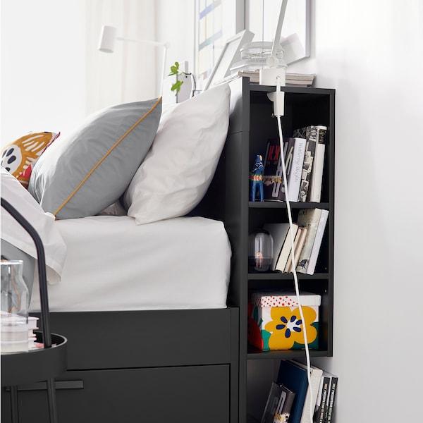BRIMNES Bettgestell, Kopfteil und Schublade, schwarz/Lönset, 140x200 cm