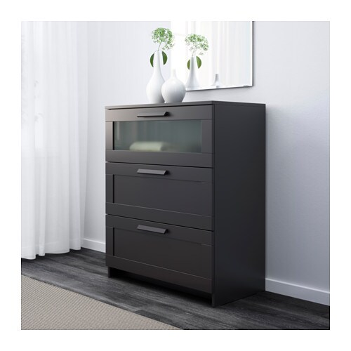 Kommode schwarz ikea  BRIMNES Kommode mit 3 Schubladen - schwarz/Frostglas, 78x95 cm - IKEA