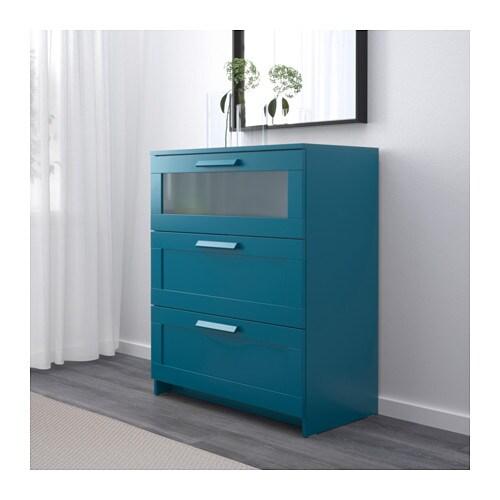 Brimnes Kommode Mit 3 Schubladen Dunkel Grunblau Frostglas Ikea