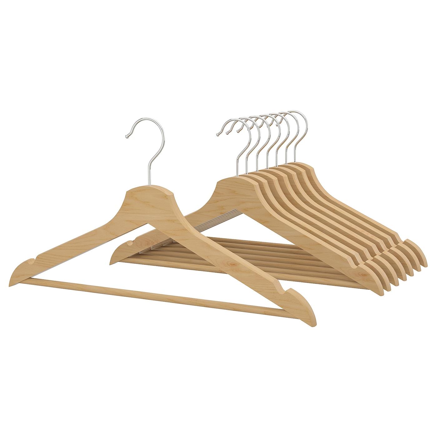 IKEA BUMERANG 8 Stück weiß Kleiderbügel Holzbügel Garderobenbügel Hosenbügel Neu