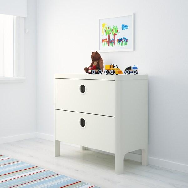 BUSUNGE Kommode mit 2 Schubladen, weiß, 80x75 cm