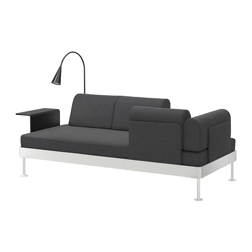 delaktig 3er sofa mit ablage und leuchte hillared anthrazit ikea. Black Bedroom Furniture Sets. Home Design Ideas