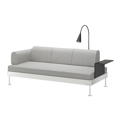delaktig 3er sofa mit ablage und leuchte tallmyra wei schwarz ikea. Black Bedroom Furniture Sets. Home Design Ideas