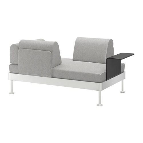 DELAKTIG 2er-Sofa mit Ablage - Tallmyra weiß/schwarz - IKEA