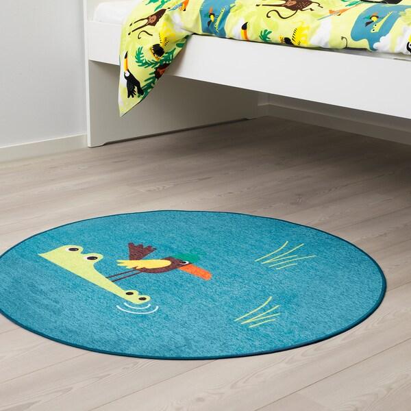 DJUNGELSKOG Teppich flach gewebt, Vogel/blau, 100 cm