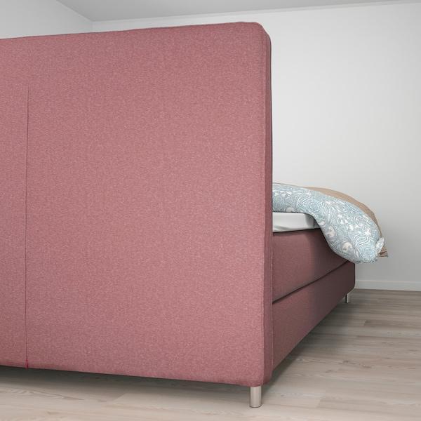 DUNVIK Boxspringbett, Hövåg fest/Tussöy Gunnared hell braunrosa, 180x200 cm