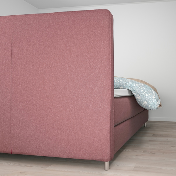 DUNVIK Boxspringbett, Hövåg mittelfest/Tussöy Gunnared hell braunrosa, 180x200 cm