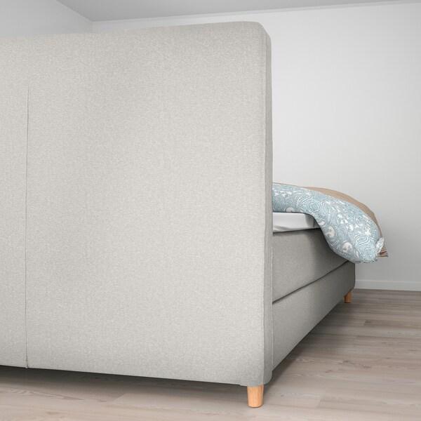 DUNVIK Boxspringbett, Hyllestad fest/Tussöy Gunnared beige, 160x200 cm