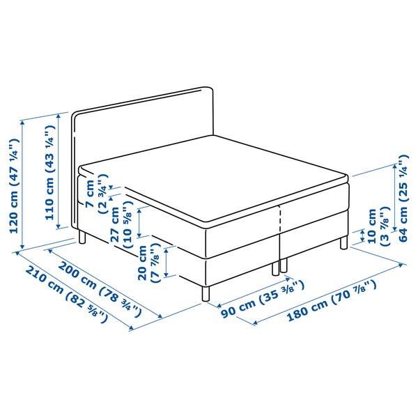 DUNVIK Boxspringbett Hyllestad fest/Tustna dunkelgrau 210 cm 180 cm 120 cm 200 cm 180 cm