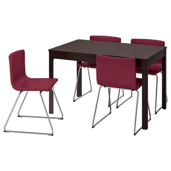 EKEDALEN / BERNHARD Tisch und 4 Stühle, dunkelbraun/Mjuk dunkelrot, 120/180 cm