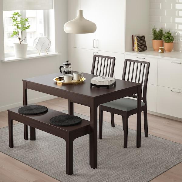 EKEDALEN EKEDALEN Tisch 2 Stühle Bank Dunkelbraun