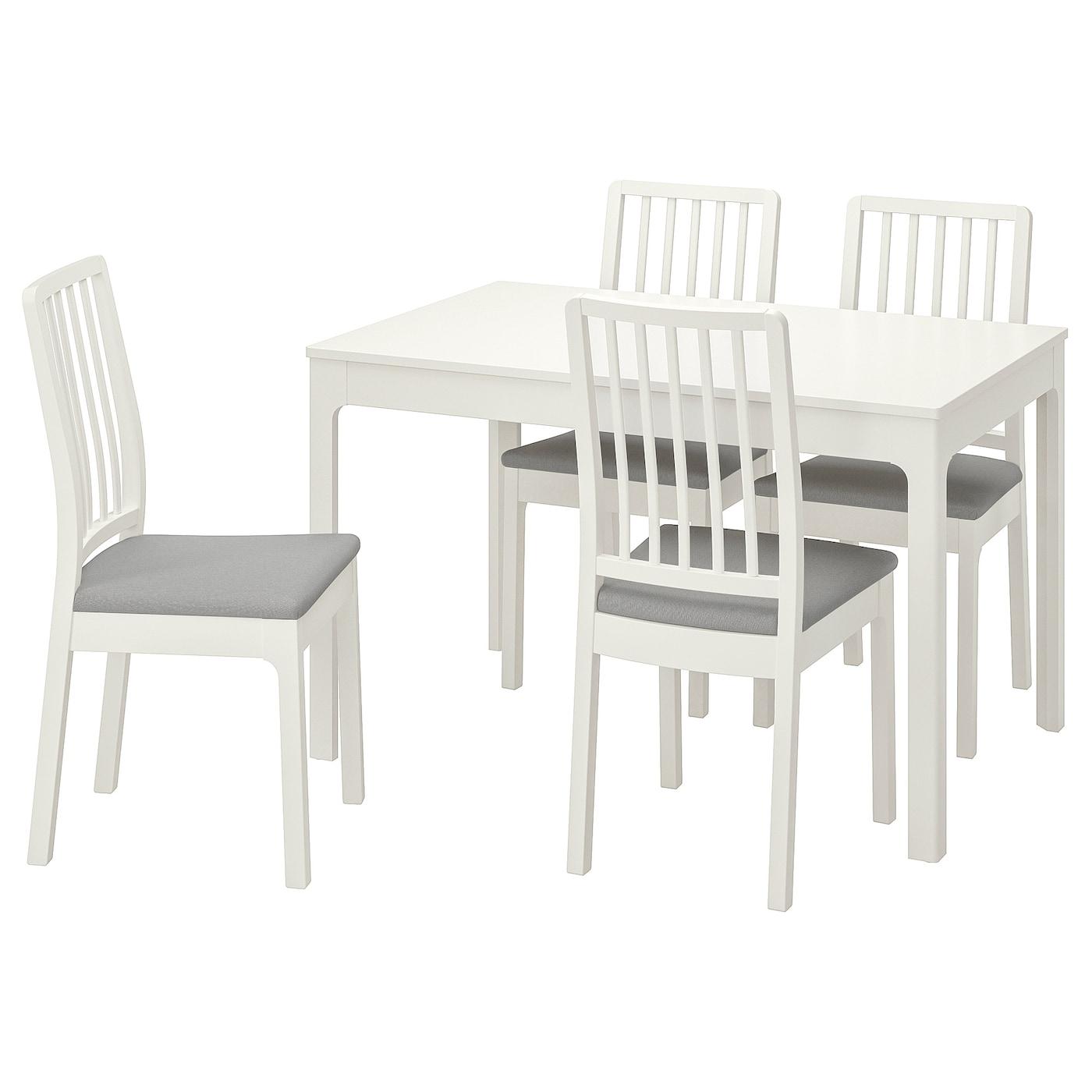EKEDALEN Tisch und 4 Stühle - weiß/Orrsta hellgrau 120/180 cm