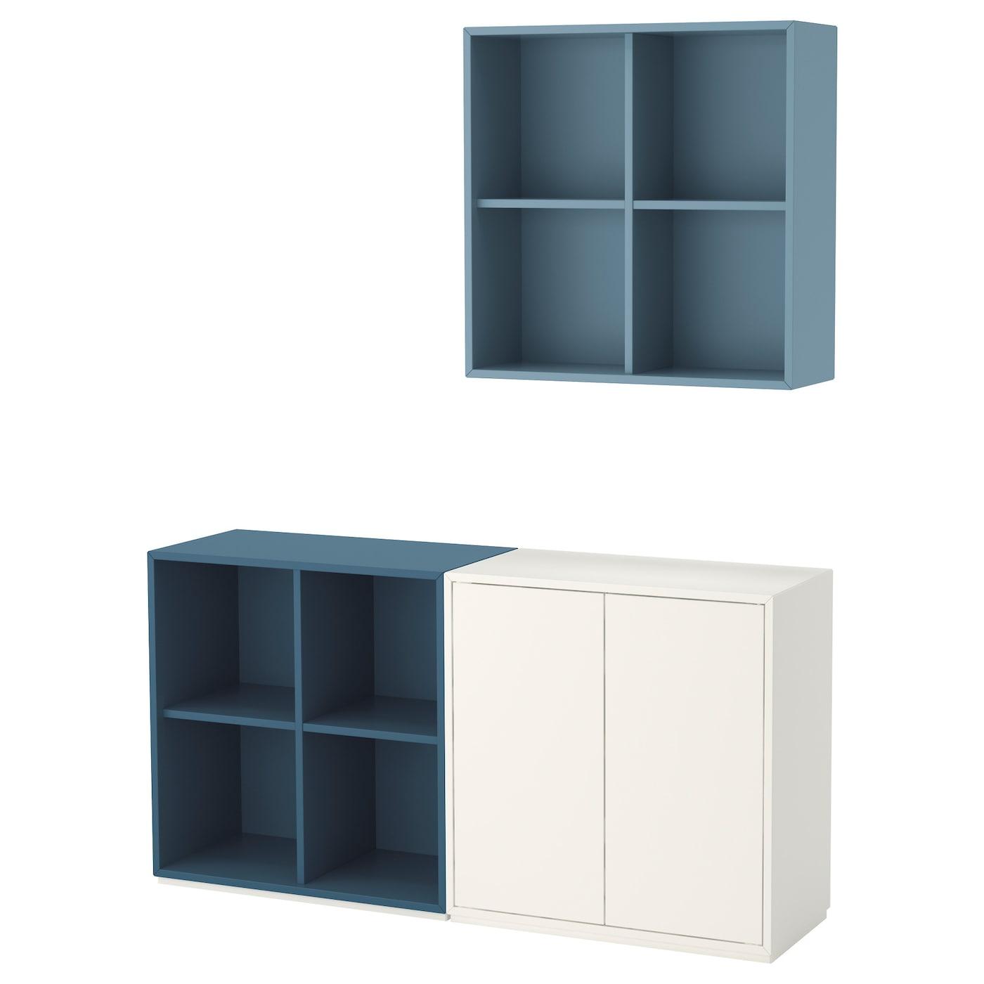 EKET, Schrankkombination/Sockel, weiß/hellblau weiß/hellgrau, weiß/hellgrau 791.908.89