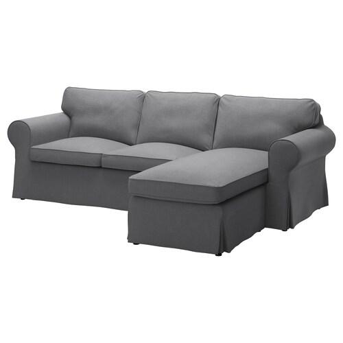 EKTORP 3er-Sofa mit Récamiere/Nordvalla dunkelgrau 252 cm 88 cm 88 cm 163 cm 45 cm