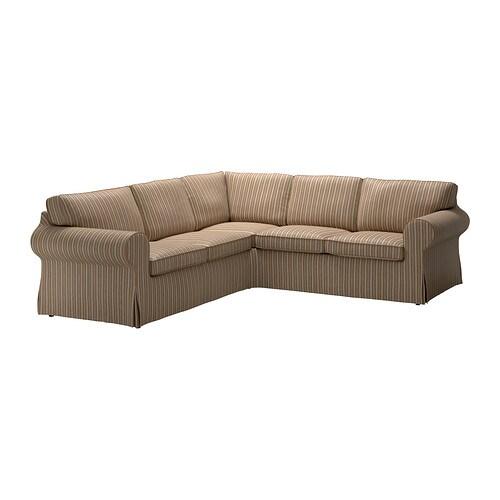 ektorp ecksofa 2 2 linghem hellbraun streifen ikea. Black Bedroom Furniture Sets. Home Design Ideas