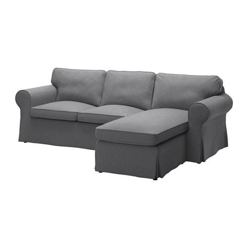Ektorp 3er Sofa Mit Récamiere Nordvalla Dunkelgrau Ikea