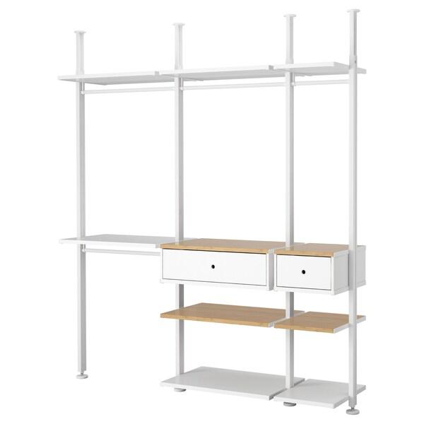ELVARLI 3 Elemente, weiß/Bambus, 218x51x222-350 cm