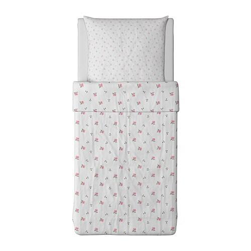 ovp ikea emelina knopp bettw sche set 140x200 rosen wei rosa bettbezug bettzeug ebay. Black Bedroom Furniture Sets. Home Design Ideas