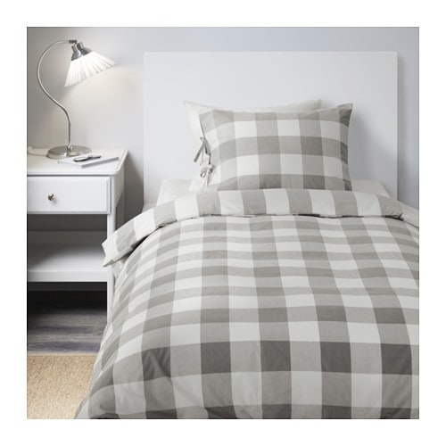 ikea emmie ruta draps literie 140x200 cm set de linge de lit 2 pi ces blanc gris ebay. Black Bedroom Furniture Sets. Home Design Ideas