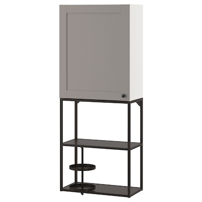 ENHET Aufbewkombi für Wand, anthrazit/grau Rahmen, 60x32x150 cm