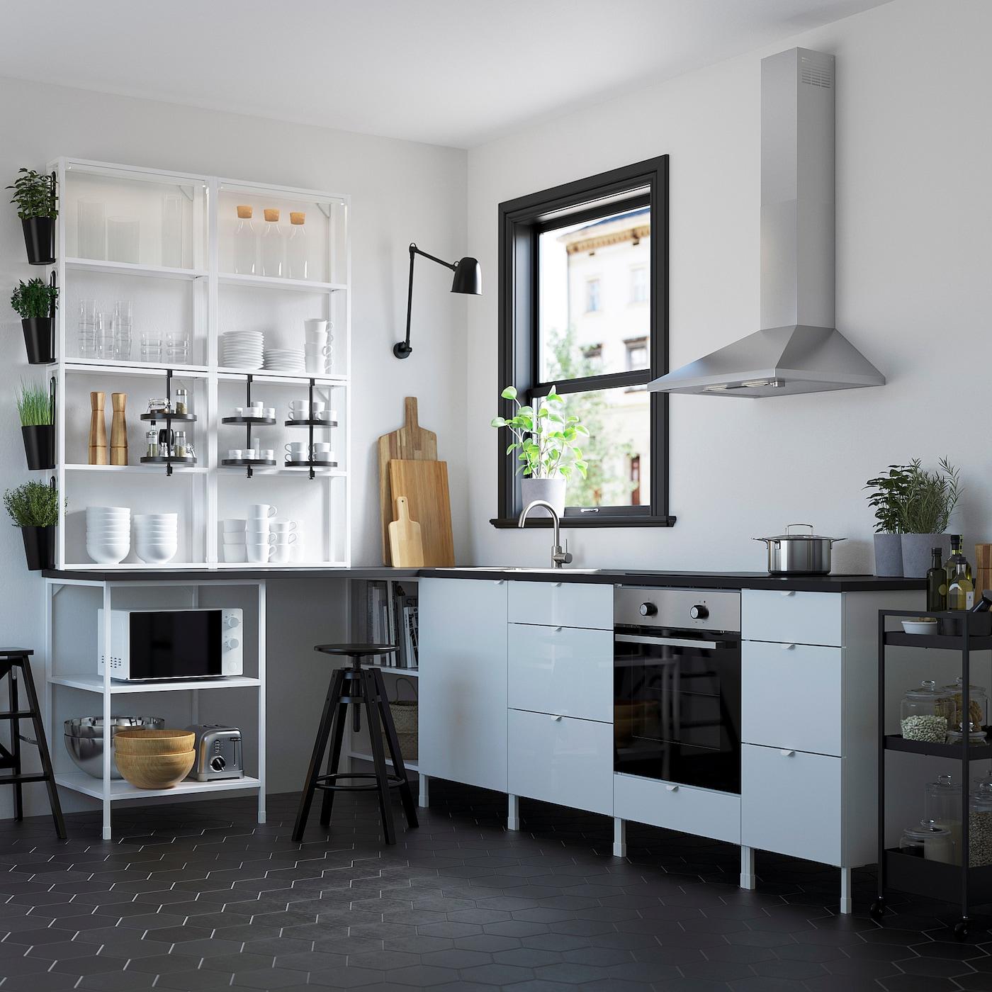 ENHET Eckküche - weiß, Hochglanz weiß - IKEA Deutschland