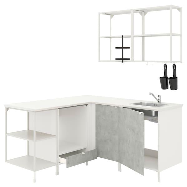 ENHET Eckküche, weiß/Betonmuster