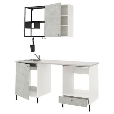 ENHET Küche, anthrazit/Betonmuster, 183x63.5x222 cm