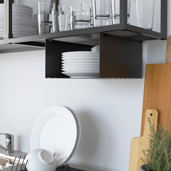 ENHET Küche, anthrazit/Betonmuster, 243x63.5x222 cm