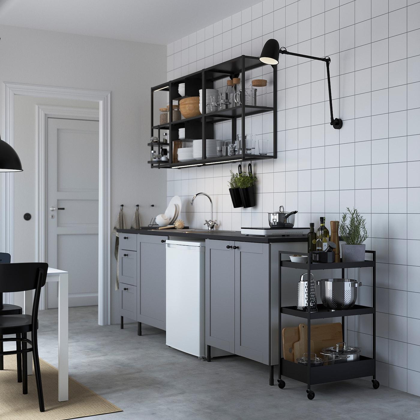 ENHET Küche, anthrazit/grau Rahmen, 243x63.5x222 cm
