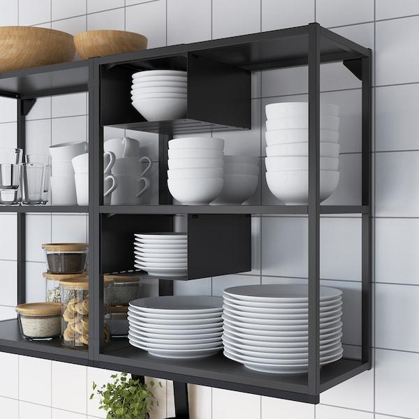 ENHET Küche, anthrazit/weiß Rahmen, 203x63.5x222 cm