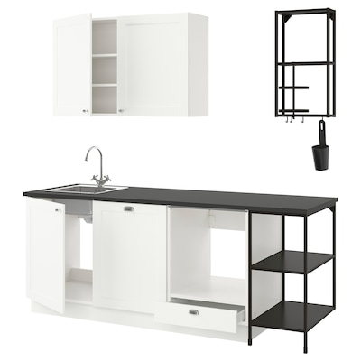 ENHET Küche, anthrazit/weiß Rahmen, 223x63.5x222 cm