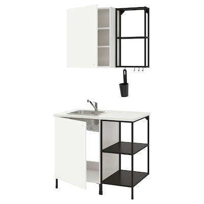 ENHET Küche, anthrazit/weiß, 103x63.5x222 cm