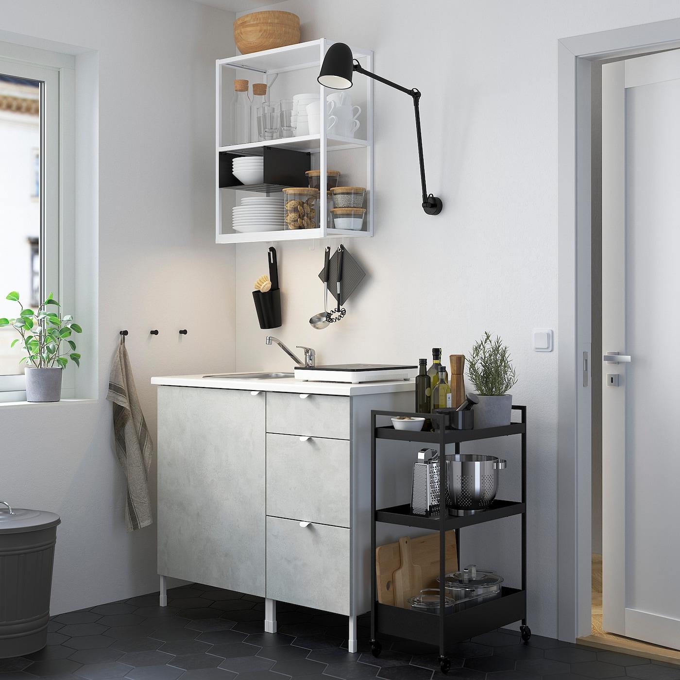 ENHET Küche - weiß/Betonmuster - IKEA Deutschland