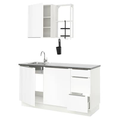 ENHET Küche, weiß/Hochglanz weiß, 163x63.5x222 cm
