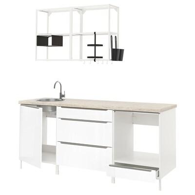 ENHET Küche, weiß/Hochglanz weiß, 203x63.5x222 cm