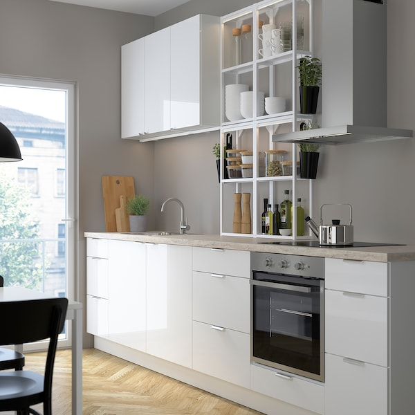 ENHET Küche, weiß/Hochglanz weiß, 323x63.5x241 cm