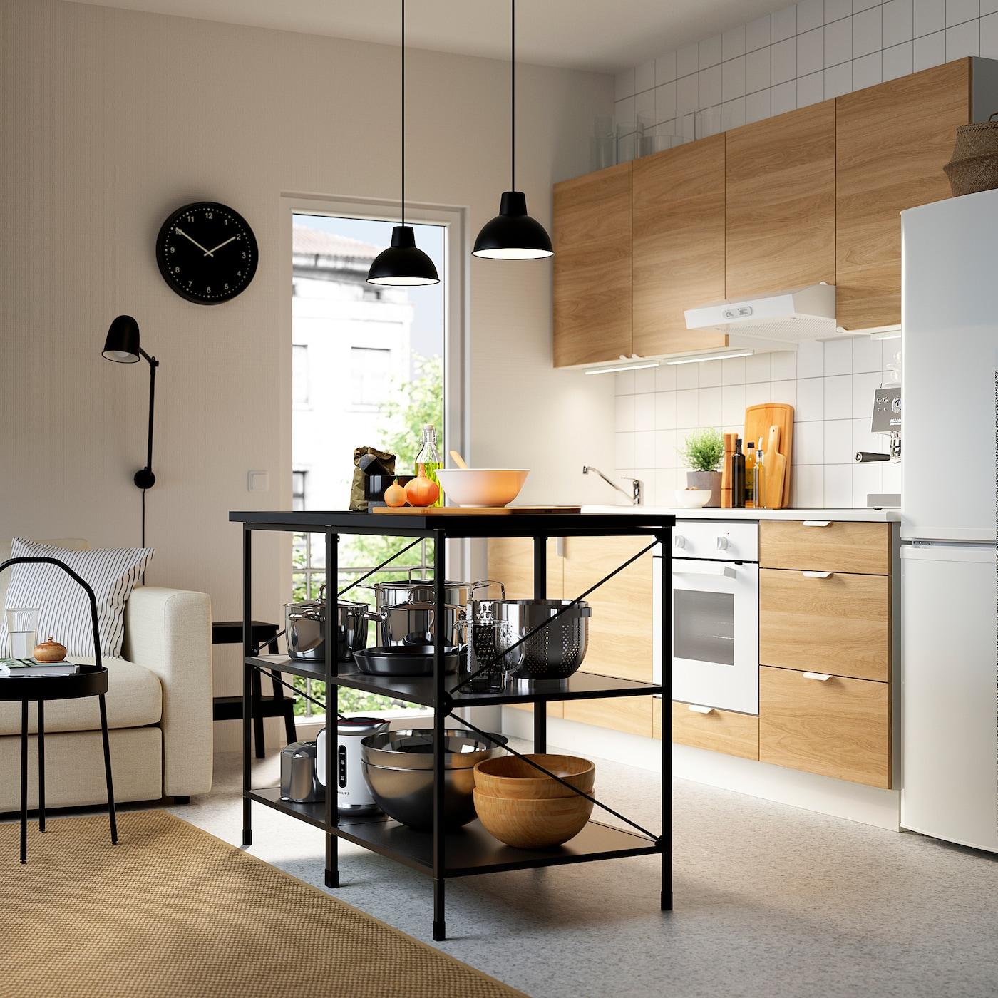 ENHET Kücheninsel/Regal, anthrazit, 123x63.5x91 cm